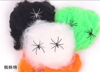 Wholesale Halloween Party Decoration Cotton Spider Web Haunted House Bar Ornament Supplies Halloween Prop Two Gift Spider