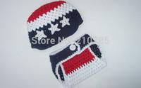 baby star diapers - Crochet Newborn hat and diaper cover set Red dark blue white stars Hand made baby Photo Prop