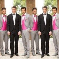 Lazo formal de color rosa Baratos-2015 Creativa bodas de plata Bestmen Trajes vendedores calientes (Jacket + tie + vest + pants) Trajes con corbata rosa y chaleco por encargo Traje Formal
