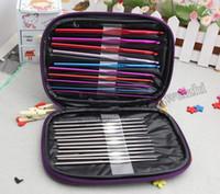 Wholesale 2015 Hot sales set Aluminum Crochet Hooks Needles Knit Weave Stitches Knitting Craft Case New