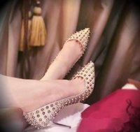 women red bottom shoes - Women heels pointed toe rivet genuine leather red bottom high heels shoes ladies dress shoes pumps sapato feminino Brand designer