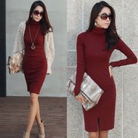 crocheted dress - New Autumn Winter Long Sweaters Dress Women Pullovers Office Dress Turtleneck Female Knitted Crochet Sweater Dresses Plus Size G0792