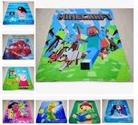 Wholesale 110pcs styles New creative Minecraft Blanket Cartoon Kids Blankets Spiderman Princess Mcqueen cartoon blanket