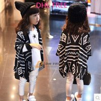 Wholesale DHL Girls geometry cardigan children kids crochet wraps baby girls fashion vest capes for girl sweater shirt clothing J112003