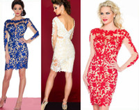 Wholesale 2014 Hot Sell Royal Blue Red Beaded Lace Long Sleeves Column Short Prom Cocktail Party Dresses