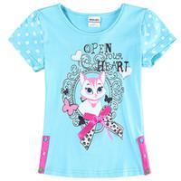 Wholesale 2015 Summer hot sale children t shirts cartoon kitten printed kids tshirt pure cotton leisure joker girls t shirt five size age ab2319