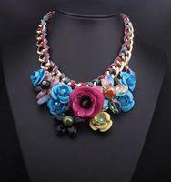 Chokers Bohemian Women's 2015 new luxury crystal gem flowers necklace Pendants sweater chain women Diamond statement jewelry Chokers collarbone chain 160120