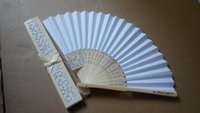 Wholesale Wedding Favors New Fasion Folding Silk Hand Fan IN Cut Gift Box black Beige Pink option Party Gifts