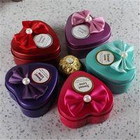 heart shaped tin box - Wedding Heart shape Metal Candy Box Wedding Favor Holders Delicate Chocolate Holders Gift Box Hot Sale love033