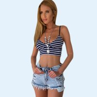 Wholesale Sexy Women Navy Stripe Bralet Tank Top V Neck Backless Crop Camis Summer Casual Beach Tops CJE0717