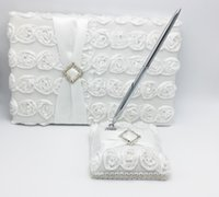 Wholesale 2Pcs set Wedding Guest Book Pen Set Bridal with White Flower Decoration Products Supplies