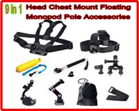Wholesale Gopro Accessories in Kit Chest Head Strap Floating Grip Handlebar Seatpost Monopod Suction Cup For GoPro Hero Camera
