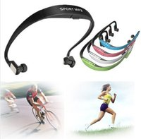 Wholesale Memory up to G Sport FM Handsfree Wireless Headset Headphone Earphone MP3 Music Player Micro SD TF Radio For Win XP ME