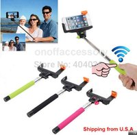 Wholesale 2014 New Christmas Gift Z07 Extendable Handheld Rechargeable Wireless Bluetooth Selfie stick Monopod For iPhone Samsung