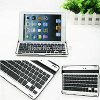 aluminum gaming case - Thin aluminum Bluetooth Wireless keyboard Portable USB gaming keyboard computer keyboard Stand Case For IOS ipad mini accessory
