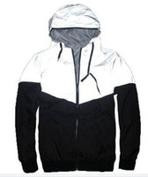 Wholesale New Autumn spring M Hiphop Jacket Reflective Jacket Thin black Windbreaker Men women Trench Coat jacket