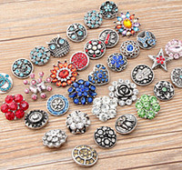 Wholesale 2016 Hot sales High quality Mix styles mm Metal Snap Button Charm Rhinestone Styles Button rivca Snaps Jewelry NOOSA chunk