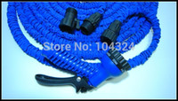 Wholesale After Stretched Working Lenght M Plastic Connector Flexible Hose FT Blue Garden Water Hose with gun