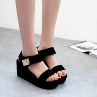 asian wedges - Hot Sale Women Wedges Sandals Fashion Casual Platform Sandals Metal Decor Summer Shoes Asian Size TX0287
