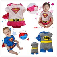 Wholesale Summer Baby Boy Girl Romper Superman Short sleeve Clothes with Smock Halloween Gift Boys Girls Rompers Clothing
