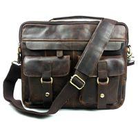 Wholesale 100 genuine leather men bag crazy horse leather men s handbags casual business shoulder bag briefcase messenger bag laptop