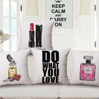 army bottle - Perfume Bottle Custom Cushion Covers styles Luxury Lipstick Logo Pillow Cover Decoration Birds Sofa Chair Pillow Case Wedding Gift