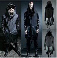 leather trench coat - New Winter Harajuku Cheap Mens Pea Coat With Hood Korean Windbreaker Long Black Trench Coat Men Slim Fit Leather Jackets