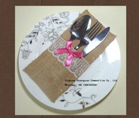 Wholesale 2015 New Arrival Freeshipping Wedding Burlap Gold Silverware holders Event Party Cutlery bags