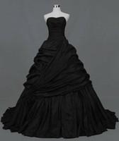 Wholesale Simple Black Wedding Dress Plus Size Gothic Victorian Taffeta Ball Gown Wedding Dresses Sweetheart Court Train Modest Wedding Gowns