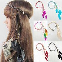 Wholesale Hippie Feather Leaf Hairband Tassels Weave Headband Elastic Headdress