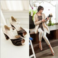 Wholesale New Arrivals Fashion Thick High Heels Open Toe Summer Dress Shoes For Women Sexy Causal Buckle Strap Vintage Style Sandal
