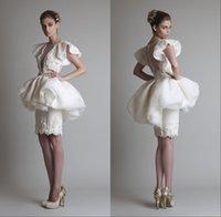 Wholesale Multi Layer Lace Short Designer Cocktail Dresses Fashion Cap Sleeve Sheath Custom Bridal Celebrity Wedding Party Gowns VT