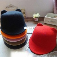 Wholesale Vogue Winter Women Girl Wool Derby Devil Hat Cute Kitty Cat Ears Bowler Cap
