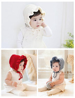 Boy Spring / Autumn Crochet Hats baby Classic Warm Soft Knitted flounced wool hat Hot Winter Warm princess Hats Fleece and Wool Hood cute Unique Deisgn Warmer cap MZ9108