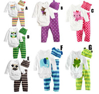 Wholesale New Baby Clothes Kids Pieces Clothes Trousers hat long sleeved leotard Outfit Set ClothesChildren clothes at home