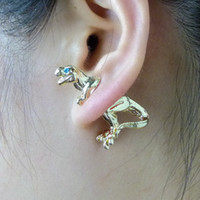 axe earring - Fashion Harajuku alloy stereoscopic Dragon Dinosaur piercing earrings stud Ear Clip statement jewelry for women men punk axe stud jewelry