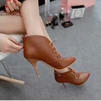 Cheap Women's pointy toe ankle boots women fashion sexy stiletto boots Martin boots black beige brown straps mens dress boots