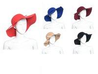 Wholesale New Arrive Soft Women Vintage Retro Wide Brim Wool Felt Bowler Fedora Hat Floppy Cloche Big Brim Chapeu Hat