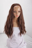 sexy wig - Sexy Fashion Loose Water Wave Synthetic Hair Natural Half Wig for Cosplayer Brown Yaki Straight Fluffy Wavy Synthetic Wig Peluca Comfortable
