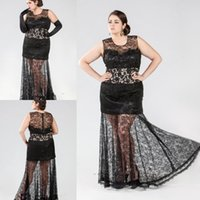 Cheap Wow!Exquisite Lace Prom Dresses Black Color Scoop Neck Sleeveless Floor Length Zipper Evening Long Dresses See Through Skirts Plus Size DY