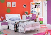 Wholesale Purple Children Dream House Furniture Bedroom Furniture wood furniture Bed desk wardrobe cabinet boy girl bedroom MYL8818