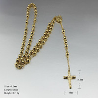 rosary for man - rosary beads necklace cross jesus pendant gold plated stainless steel for men and women