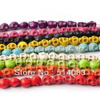 loose shamballa beads - Beads Fasion turquoise stone loose Skull beads Fit shamballa Bracelets diy beads jewelry making mm