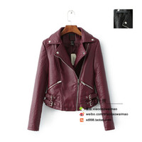atmosphere jackets - American single autumn new ladies short paragraph Slim burgundy atmosphere thicker composite leather motorcycle jacket female models