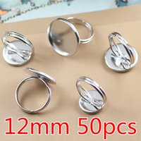 cabochons - 50pcs Brass White K Plated Ring Settings MM Blank Tray Rings Cameo cabochons Base Accessories Findings