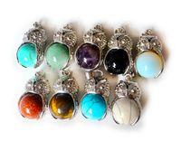 amethyst rock crystal - Lovey Amethyst Rose Quartz Rock Crystal Owl Round Beads Stone Pendant Jewelry