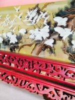 antique chinese carved - New arrival Chinese traditional Rosewood color carved screen with red crowned cranes artwork handicraft product