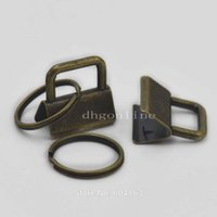 Wholesale Hardware Clamps Bronze Key Fob Hardware quot mm keychain Split ring for wrist Wristlets Cotton