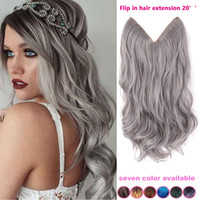 Wholesale 1 piece inch grey silver hair no clip hair extension brazilian natural wave invisible synthetic halo hair extension flip in