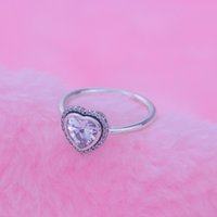 metal stamping - Good Quality luxury cubic zirconia Silver Metal Heart Diamond Ring Pillow With S925 ALE Logo Stamped Compitable Pandora For Weeding